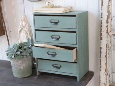 Fiókos asztali szekrény fából menta zöld