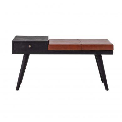 Mangó fa ülőpad bőr üléssel