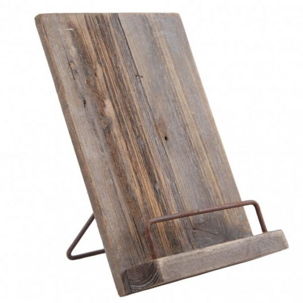 szakácskönyvtartó állvány rusztikus fából vintage lakberendezés