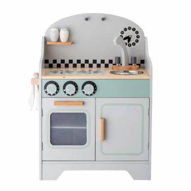 Játékkonyha skandináv design mosogatóval, tárolóval