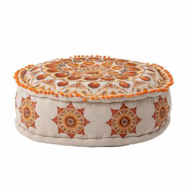 Narancssárga mintás bohém pamut puff