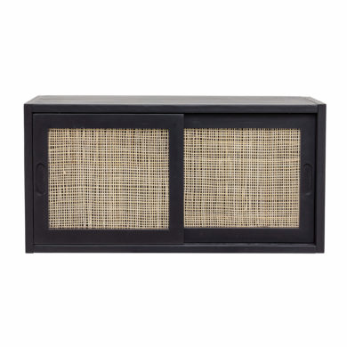 Fekete fenyő tolóajtós szekrény