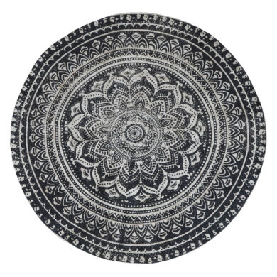 Fekete-fehér mintás kör alakú juta szőnyeg