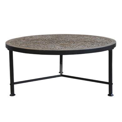 Kávézóasztal mintás fa asztallappal