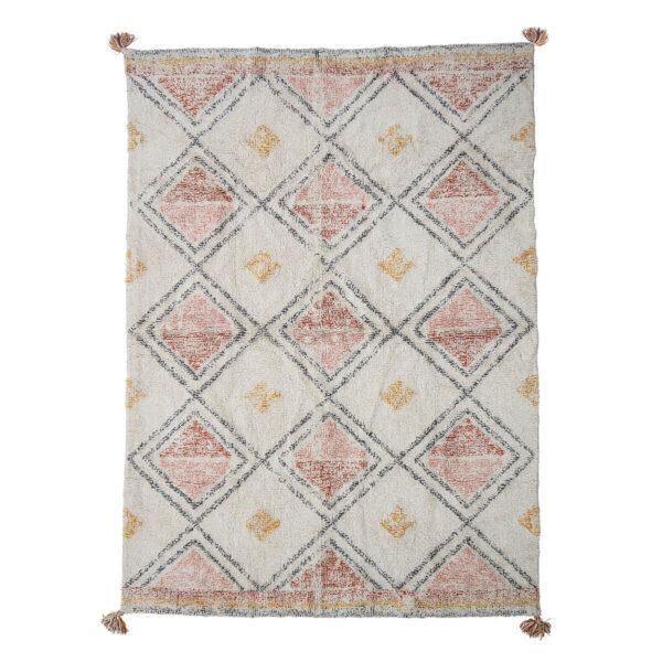 Skandináv pamut szőnyeg pasztell árnyalatokkal, rombusz mintával 140 x 200 cm