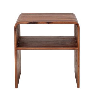 Barna lerakóasztal akácfából, éjjeli szekrény, kisasztal