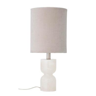Fehér alabástrom asztali lámpa skandináv stílus, elegáns vászon búra