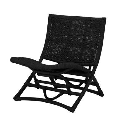 Rattan összecsukható fotel fekete színben monokróm skandináv otthon dísze