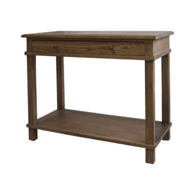 Szilfa szervízasztal újrahasznosított fából vintage stílus. Konzolasztal fiókkal és polccal