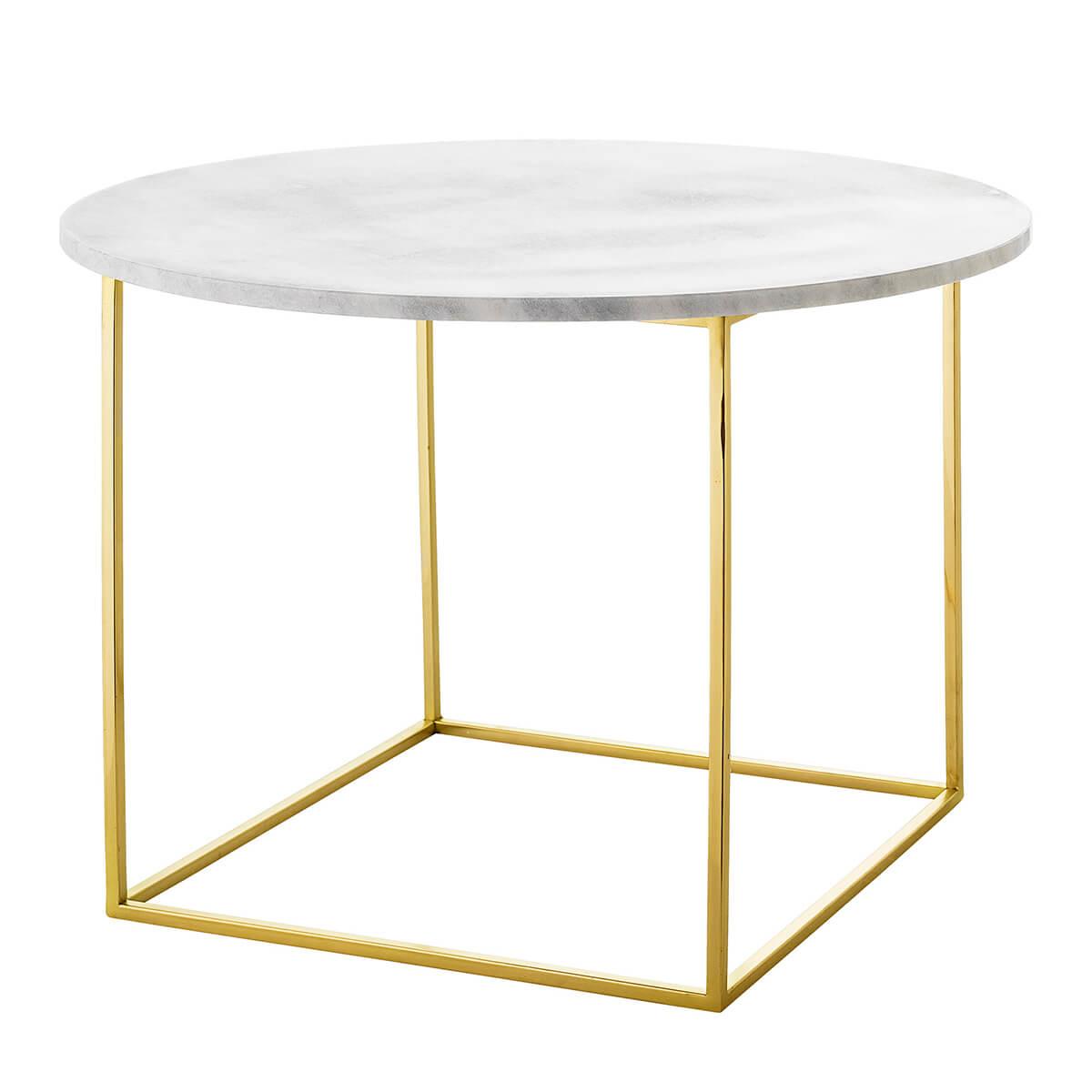Dohányzóasztal márvány asztallappal arany színű lábakkal, luxus és elegancia skandináv stílusban