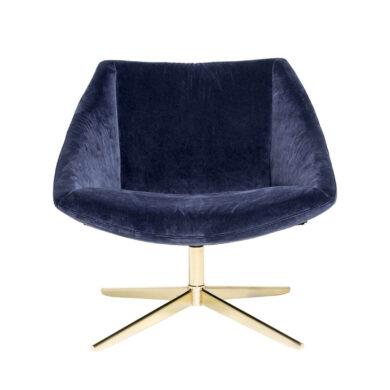 Kék bársony fotel skandináv elegáns stílusban