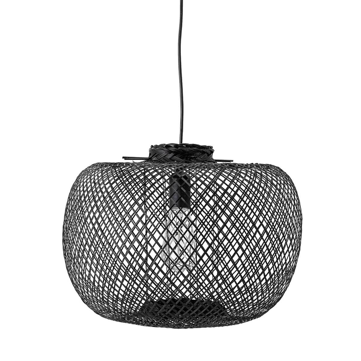 Fekete bambusz függőlámpa skandináv stílus természetesség minimalista megjelenés