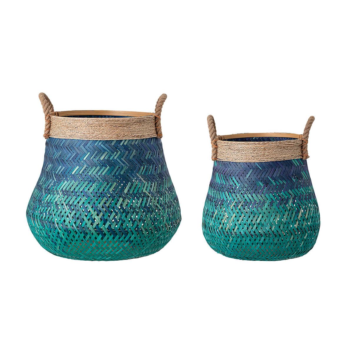 Kék bambusz kosár szett skandináv kaspó és tároló elem