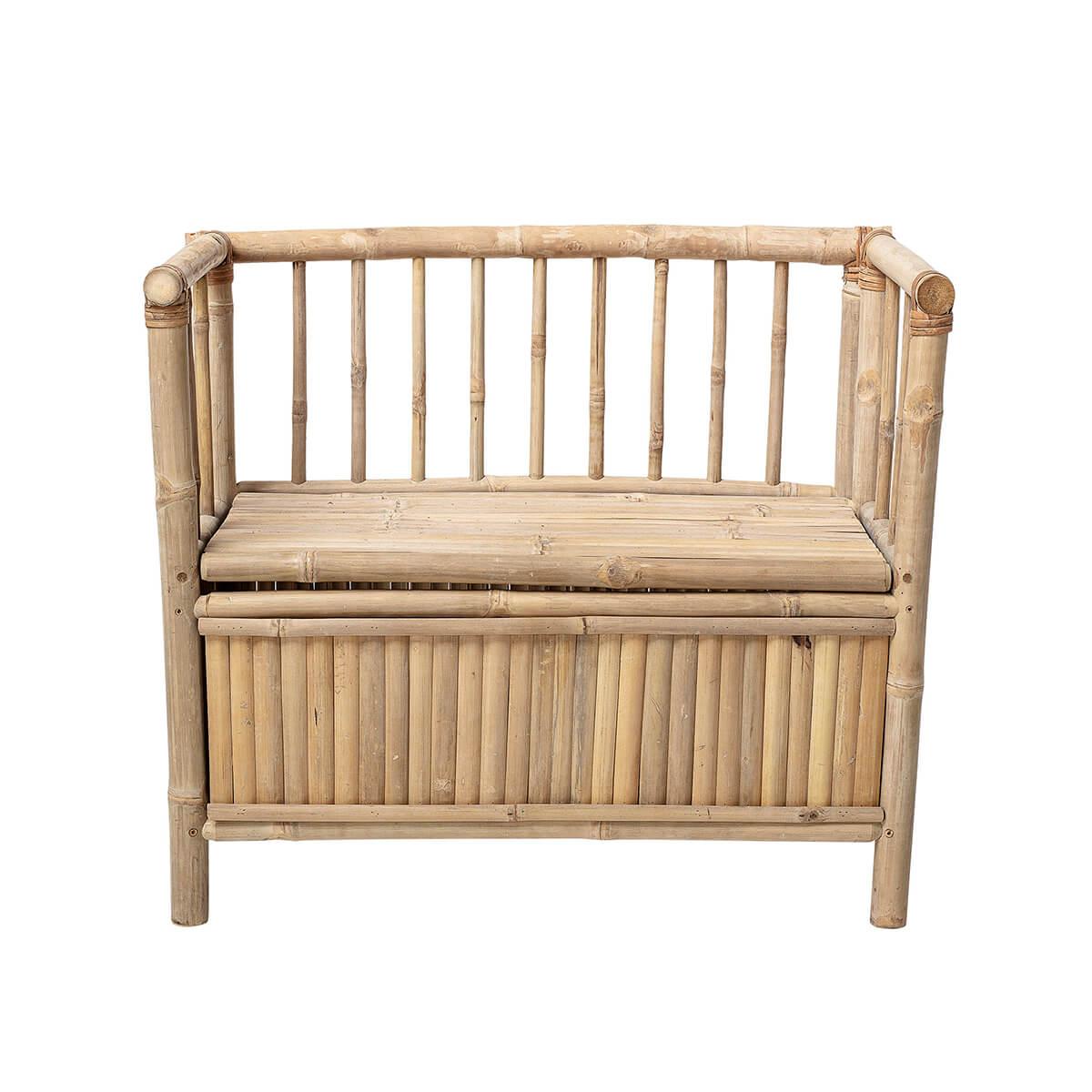 Bambusz pad felhajtható üléssel tárolófelülettel skandináv fenntartható lakberendezés