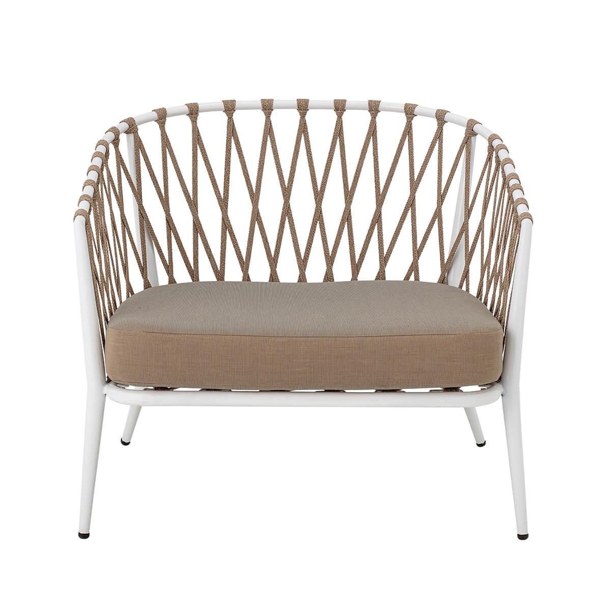 Fehér kerti fotel fagyálló és vízálló kivitelben skandináv stílusban