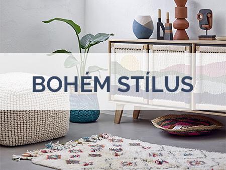 Bohém stílus skandináv lakberendezés szőnyegek, bútorok