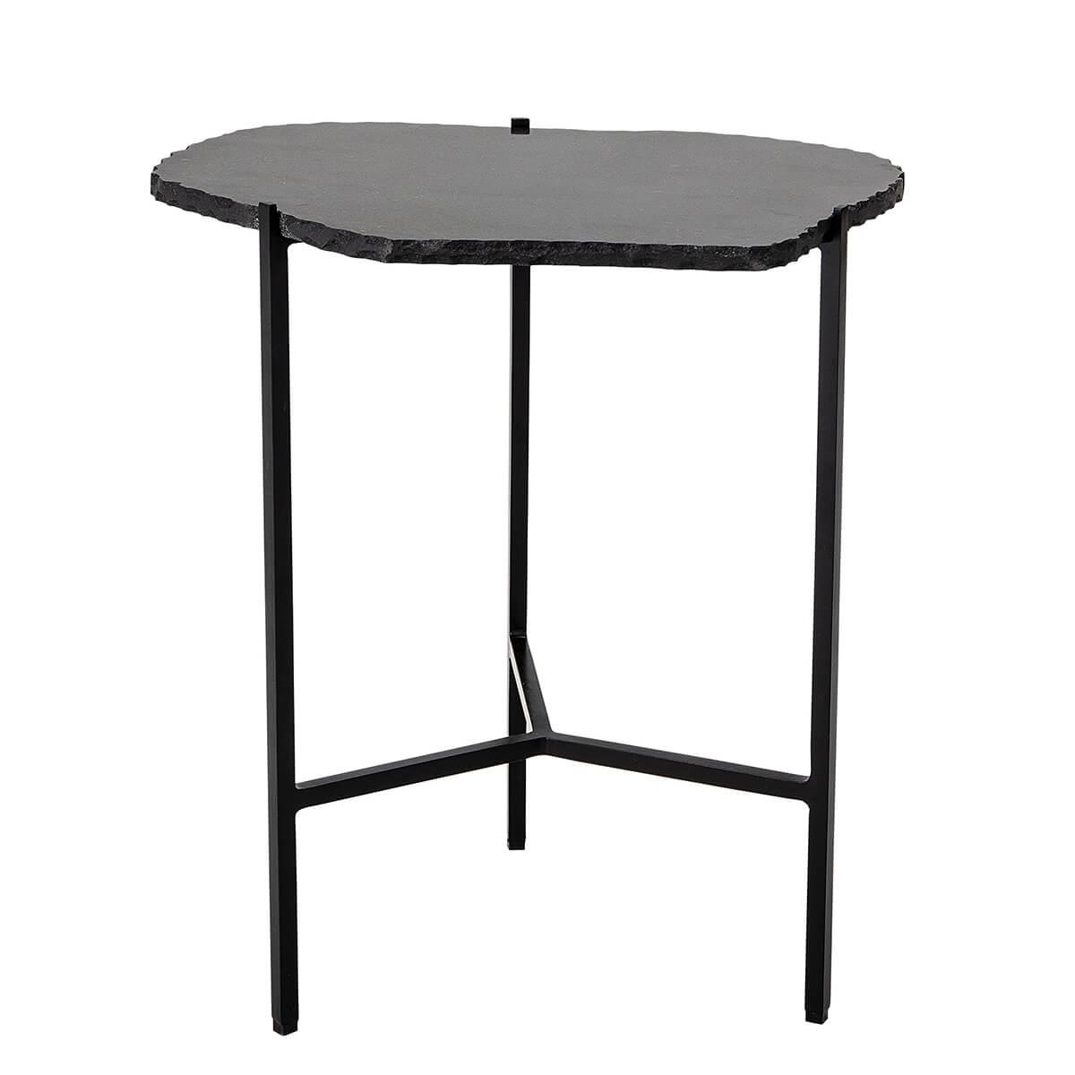 Márvány kisasztal fekete asztallappal egyedi formával