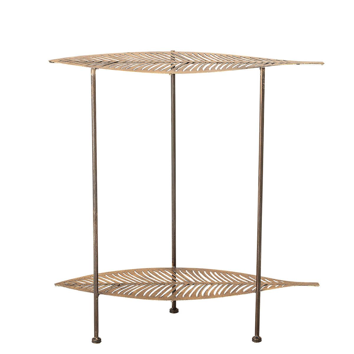 Arany színű lerakóasztal levél formájú asztallapokkal skandináv dekoráció